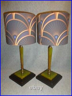 0846 G. F. Decor Splendor Art Deco Green Bakelite Lamps (pair)