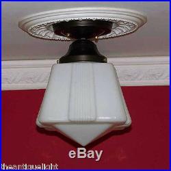 157 1 of 2 Vintage antique aRT DEco Ceiling Light Glass Lamp Fixture