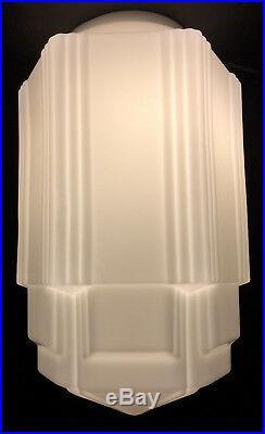 16 1/2 Tall White Opal Glass Art Deco SkyScraper Pendant Light Lamp Shade USA