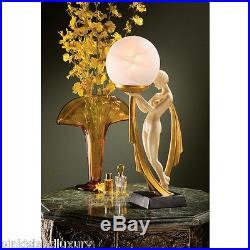 16 NUDE LADY LAMP SCULPTURE Art Deco Statue Frosted Glass Globe Illuminated Orb