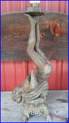 1800's Circus Lady Art Deco Nouveau Lamp Spelter Figural Antique Vintage Statue