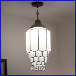 183b 1of 2 aRT DEco CEILING LIGHT lamp fixture glass shade pendant Skyscraper