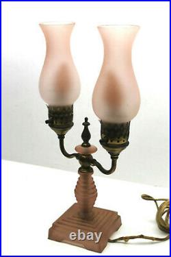 1910 Victorian Pink Hurricane Table Lamp Style Electic Light Glass Art Deco Base