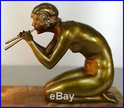 1920/1930 C Mirval Statue Sculpture Lampe Art Deco Bronze Dore Femme Nue Serpent