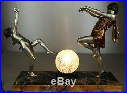 1920 E Carlier Rare Grde Lampe Statue Sculpture Art Deco Danseuse A Toge + Faune