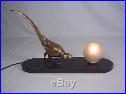 1920's Art Deco Bronze Pheasant Table Lamp Marble Base