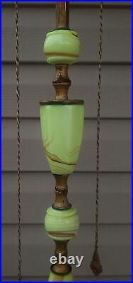 1920's Hollywood Regency Art Deco Floor Lamp Pale Jadite Glass Base & Column