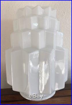 1920s 1930S ART DECO STEPPED TABLE WHITE MILK GLASS LIGHT LAMP SHADE HEXAGONAL
