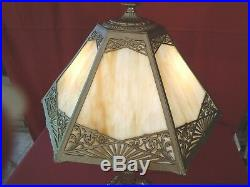 1920s ART DECO 2-LIGHT TABLE LAMP With SLAG GLASS SHADE MILLER