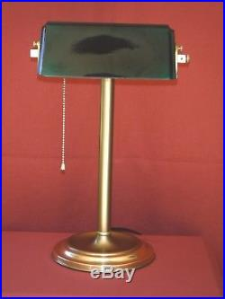 1920s ART DECO BANKERS LAMP With VERDELITE GREEN CASED GLASS SHADE