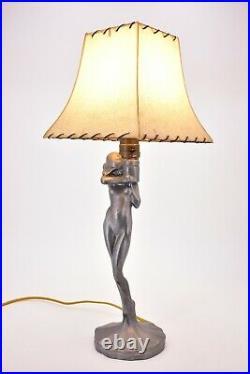 1920s Antique Vintage True Art Deco Nude Woman Girl Lamp Shade Frank Art Style