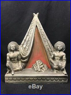 1920s Spelter Metal Teepee Lamp with Two Seated Chiefs Native American Art Deco