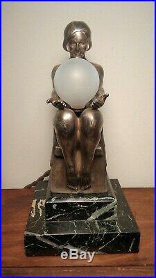 1925-1930 Art Deco Lamp Max Le Verrier Delassement Lumineux Nude Flapper Girl