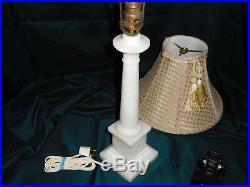 1930's Antique Art Deco Italian Neoclassical Alabaster Column Table Lamp Laural