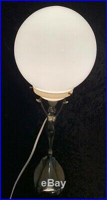 1930's Art Deco Chrome Diana Lady Lamp with Glass Orb Shade