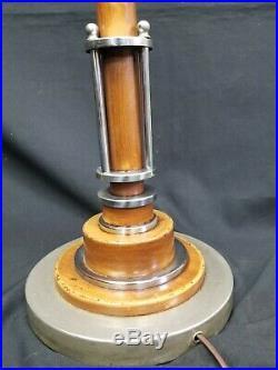 1930's Art Deco Floor Reading Lamp Machine Age Streamline Industrial Metalcraft
