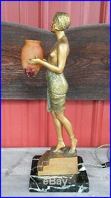 1930's Art Deco Lamp Nude Lady Pierre Le Faguays Bronze Figural Vintage Antique