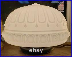 1930's Art Deco Milk Glass Ribbed Dome Pendant Light Fixture Converted Lamp