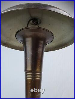 1930's Art Deco mushroom desk / table lamp single bulb bronze color UFO works