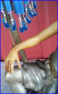1930s Art Deco Lamp Dancing Lady Figural Spelter Sculpture Statuette Czech Shade