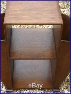 1930s Art Deco Oak Lamp Table shelves side magazine storage