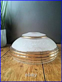 1930s Art Deco White Frosted Sugar Glass Ufo Ceiling Light Lamp Shade Flycatcher