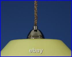 1930s Art Deco Yellow Uranium Cased Glass & Chrome Angular Pendant Lamp
