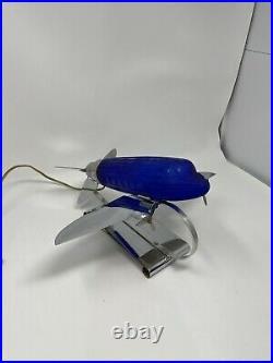 1970s DC-3 Airplane Desk Lamp Cobalt Blue Chrome Art Deco Sarsaparilla USA Light