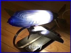 1970s SARSAPARILLA COBALT BLUE GLASS & CHROME DC-3 PLANE LAMP ART DECO