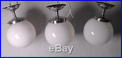 1 von 3 alte ART DECO Opalglas Lampe Chrom Hängelampe Ø 20 cm