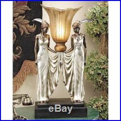 20 20-Watt Art Deco Peacock Maidens Illuminated Statue Sculpture Table Lamp