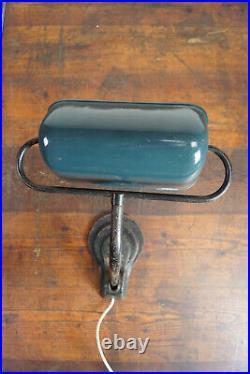 20er Stehlampe Banker Lampe Schreibtisch Email Art Deco Bauhaus Tischlampe 30er