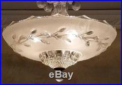 219 Vintage arT DEco Ceiling Glass Light Lamp Fixture Chandelier white 3 light