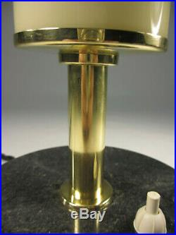 26cm Art Deco Tischlampe Antik Tischleuchte Natursteinfuß Tubus Röhrenschirm