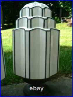 2 Art Deco 21 Milk Glass Ceiling Pendant Geometric Skyscraper Light Lamp Shade