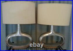 2 Art Deco Metal O Table Lamps with Shades, Electric, Working