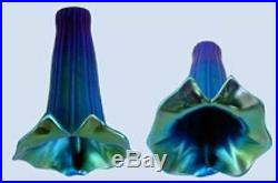 (2) CALLA LILIES Art Nouveau Glass Lamp Shades IRIDIZED Hand Blown DECO light