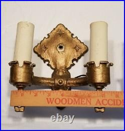 2 Double Wall Sconces Gothic Art Deco Vintage Cast Metal Light Lamp Marked F1217