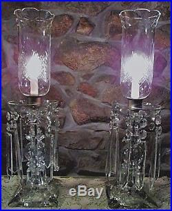 2 Elegant Antique Art Deco Crystal Hurricane Candelabra Lamps Cut Glass Chimneys