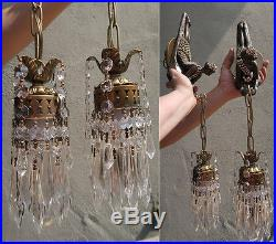 2 Lady Art Deco era in. Jeweled brass Spelter Wall Sconces lamp lantern sparkly