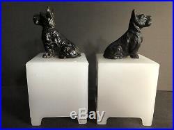 2 Vintage Art Deco Scottie Dog Lamp Light & Shade Opaque White Milk Glass 30s