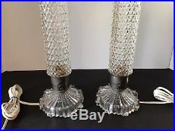 2 Vtg Art Deco Clear Glass Phalic 12.5 Bullet Skyscraper Boudoir Bedroom Lamps