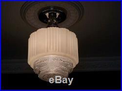 340 Vintage Antique art deco Glass Ceiling Light Lamp Fixture hall bath kitch