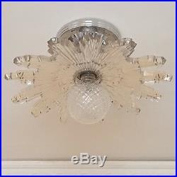 367z Vintage antique arT DEco STarburst CEILING LIGHT lamp fixture glass shade