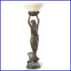 39' Art Deco Style Greek Goddess Offering Mermaid Illuminated Sculptural Lamp