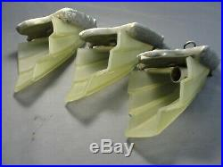 3 Antique Art Deco Chrome Sconces Light Lamp Fixtures Original Glass Slip Shades