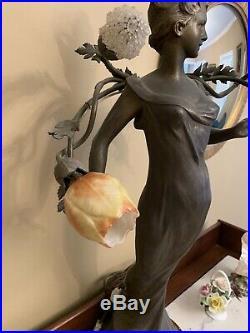 3 Antique FRENCH ART DECO Art GLASS LAMP SHADE GENET ET MICHON Sconce Chandelier