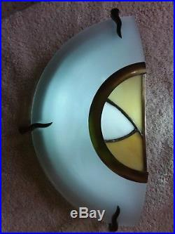 3 Art Deco style glass wall lamps