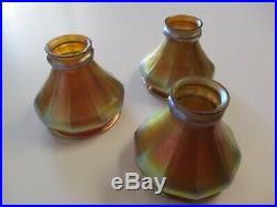 3 Rare Antique Steuben Art Glass Lamp Shade Sculpture Opalescent Art Globe Deco