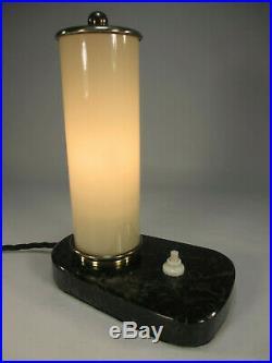 40er Jahre Art Deco Tischlampe Antik Tischleuchte Natursteinfuß Marmor Lampe
